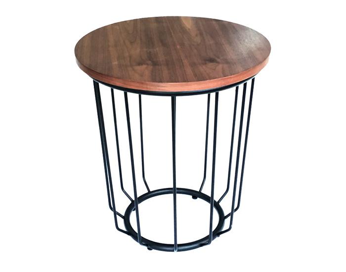Wood top with steel legs side table - Aurora