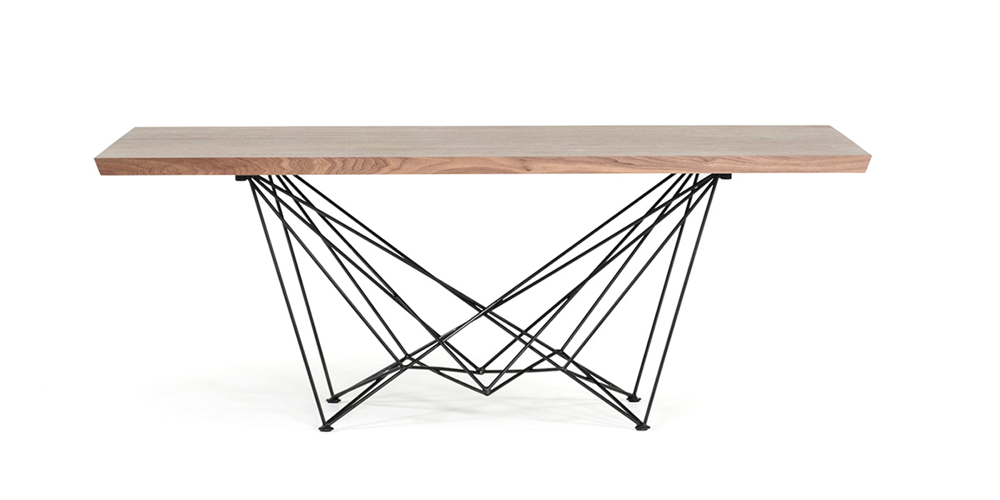 Steel and wooden dining room table - F2203AB