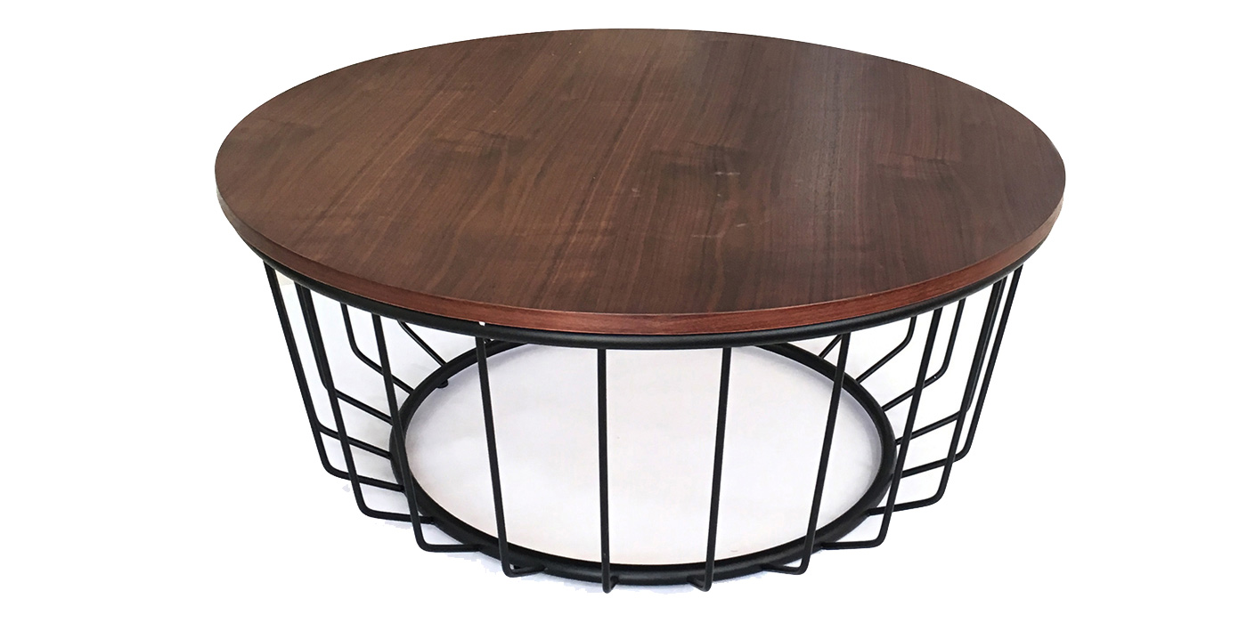 Wooden coffee table with steel legs - Aurora