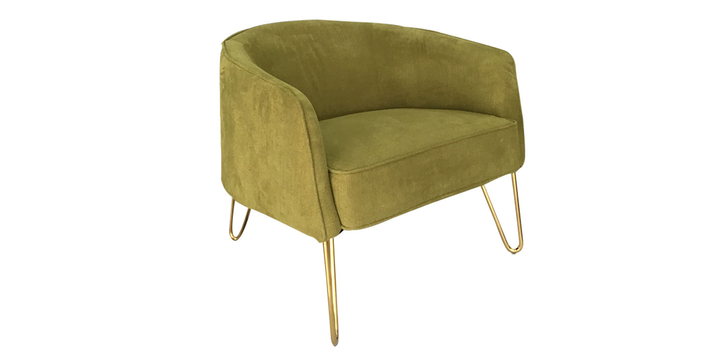 Green gold armchair with steel legs - HE449-016