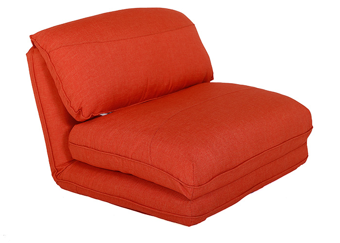Low level Orange 1 seater sofa bed
