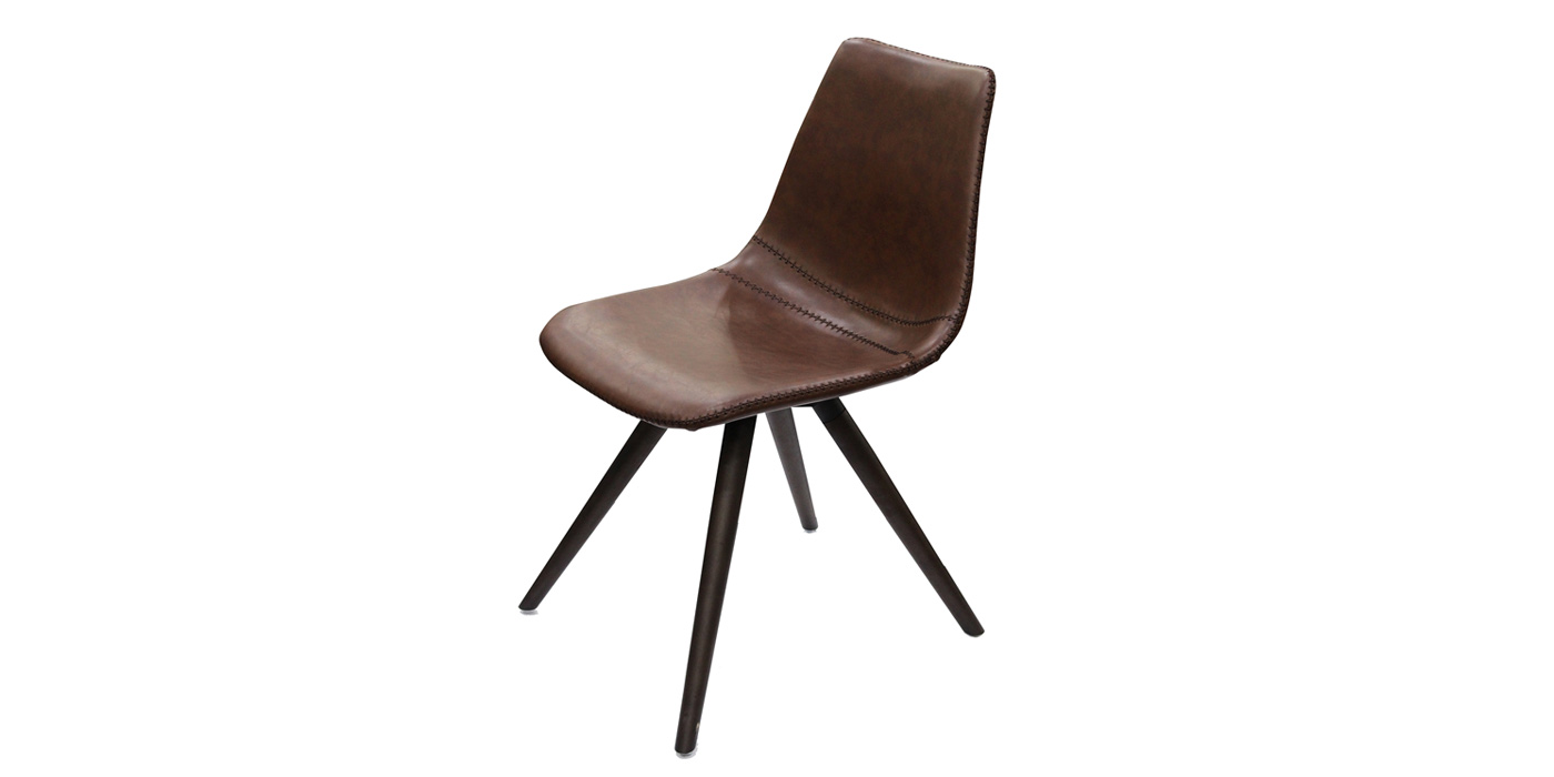 Brown leather and wooden legs dining room chair - F3218AB