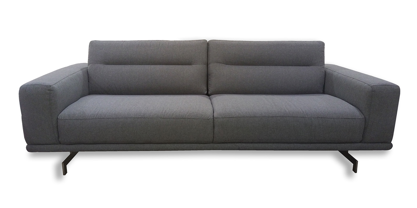 Leather straight back sofa for living room - C018