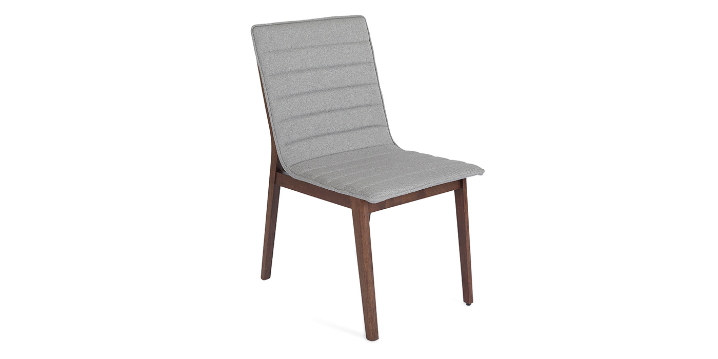 Grey dining room chair with wooden legs - Hayden