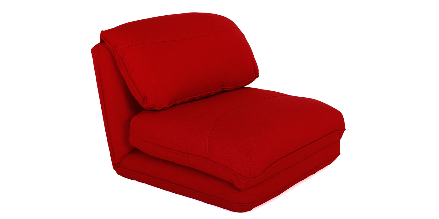 Low level Red 1 seater sofa bed