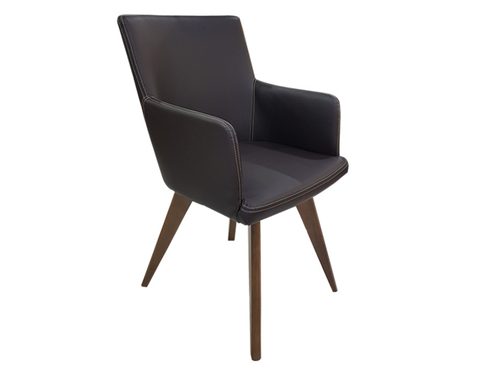 Leather and wooden legs dining room armchair - A1459H
