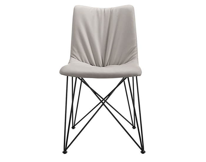 Steel and leather dining room chair - F3205AA