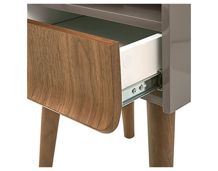 Wooden side table with metallic accents - CT-356