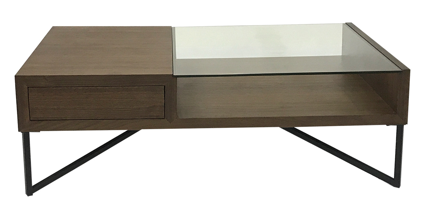 Wood and glass modern coffee table - F1142-2CB